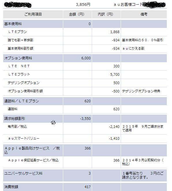 au料金明細(LTEフラットあり)