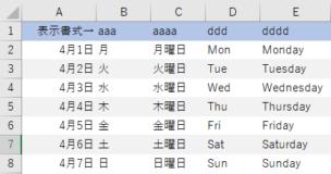 Excelで曜日表示